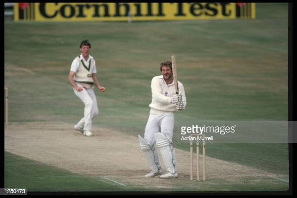 Ian Botham hooks Geoff Lawson of Australia for 4 during his magnificent 149 not out in the Historic 3rd Test at Headingley where England defied odds...