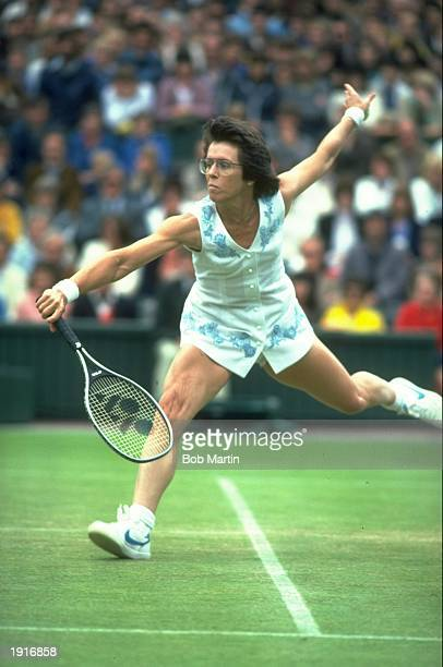 Billie Jean King of the USA in action during the Lawn Tennis Championships at Wimbledon in London Mandatory Credit Bob Martin/Allsport