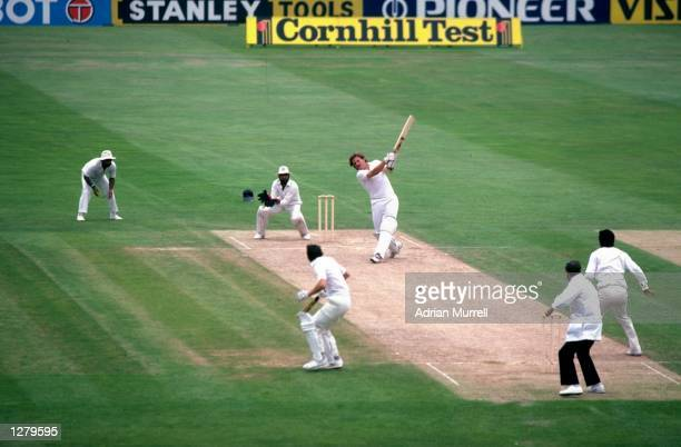 Ian Botham of England hits a four during his 208 run innings in the Third Test against India at the Oval in London The match ended in a draw...