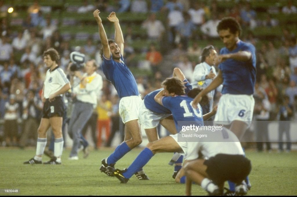Italian players celebrate after their victory in the World Cup final against West Germany at the Bernabeu Stadium in Madrid, Spain. Italy won the match 3-1. \ Mandatory Credit: David Rogers/Allsport