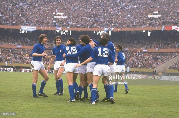 Italy celebrates their thriumph at the end of the World Cup Final match against West Germany in Madrid Spain Italy won the match 31 Mandatory Credit...
