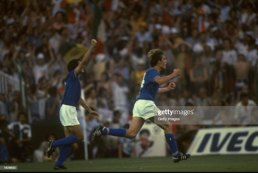 Marco Tardelli (right) of Italy celebrates scoring the second goal against West Germany during the 1982 World Cup final at the Bernabeu Stadium in Madrid, Spain. Italy won the match 3-1. \ Mandatory Credit: Allsport UK /Allsport
