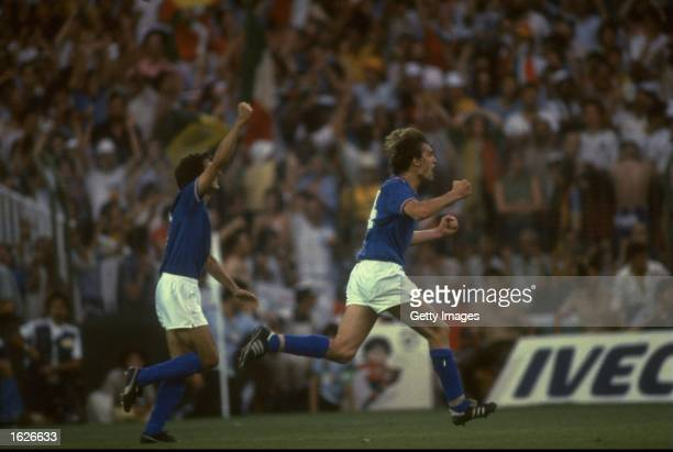 Marco Tardelli of Italy celebrates scoring the second goal against West Germany during the 1982 World Cup final at the Bernabeu Stadium in Madrid...
