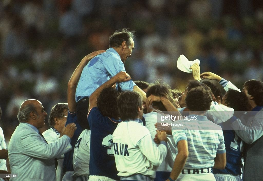 Team manager Enzo Bearzot is held high as Italy celebrate their triumph at the World Cup Final match between West Germany and Italy in Madrid, Spain. Italy won the match 3-1. \ Mandatory Credit: Allsport UK /Allsport