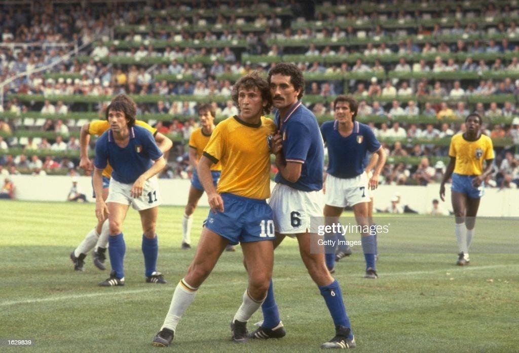 Zico of Brazil and Claudio Gentile of Italy : ニュース写真
