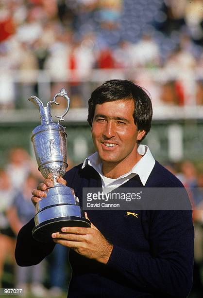 Seve Ballesteros of Spain holds aloft the Claret Jug after winning the British Open played at St Andrews in Fife Scotland Mandatory Credit David...