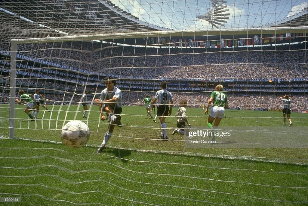 An Argentinian player kicks the ball in frustration after Rudi Voller scores West Germany's second goal during the World Cup final at the Azteca Stadium in Mexico City. Argentina won the match 3-2. \ Mandatory Credit: David Cannon/Allsport