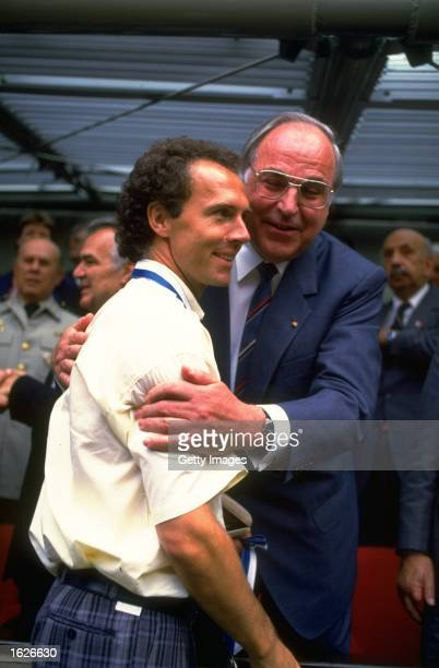 Franz Beckenbaur coach of the West German team meeting the Chancellor, Helmut Kohl of Germany during the 1986 World Cup in Mexico. Argentina beat...