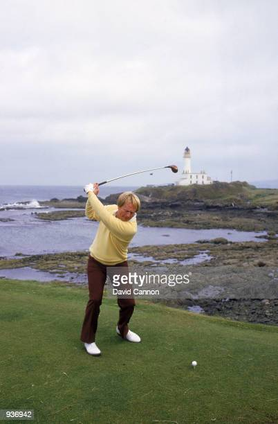Jack Nicklaus of the USA tees off at the 9th during the British Open at Turnberry in Scotland Mandatory Credit David Cannon/Getty Images