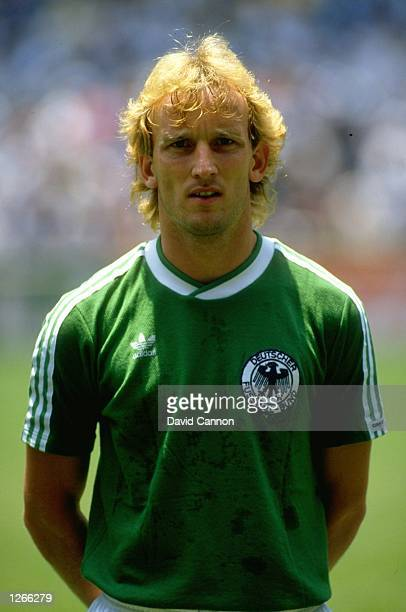 Portrait of Andreas Brehme of West Germany before the World Cup final against Argentina at the Azteca Stadium in Mexico City Argentina won the match...