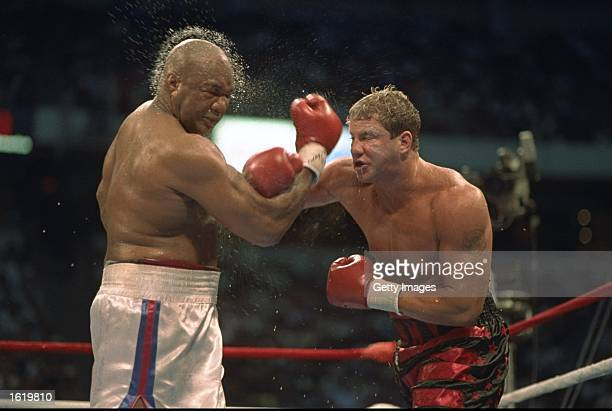 George Foreman of the USA suffers at the hands of Tommy Morrison of the USA in Las Vegas Nevada USA Mandatory Credit Allsport UK /Allsport