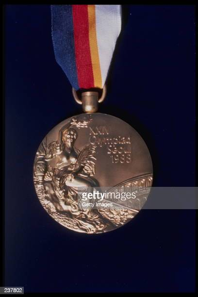 A closeup of a Gold Medal for the 1988 Olympic Games in Seoul South Korea Mandatory Credit Allsport/Allsport