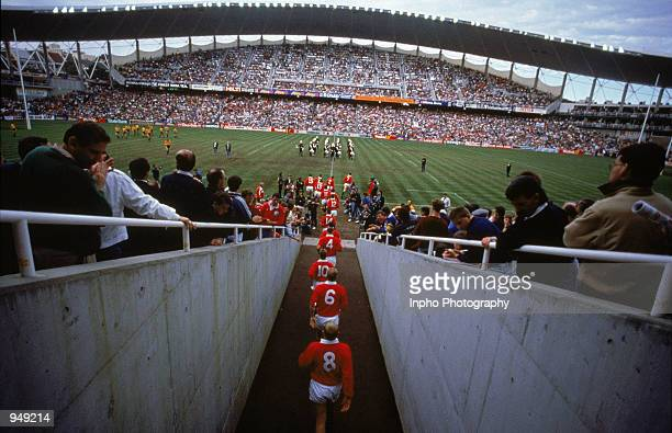 British Lions walk out before the British Lions tour to Australia first test match against Australia played at the Sydney Football Stadium in Sydney...