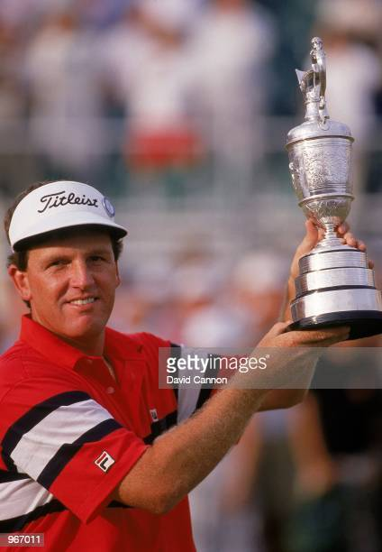 Mark Calcavecchia of the USA holds aloft the Claret Jug after winning the British Open played at Royal Troon in Ayrshire Scotland Mandatory Credit...