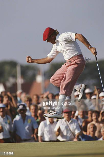 Payne Stewart of the USA jumps for joy as he birdies at the 17th during the British Open at Royal Troon Golf Club in Scotland Mandatory Credit David...