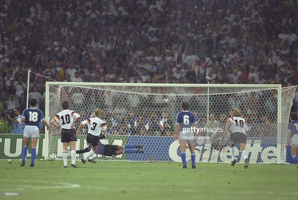 Andreas Brehme of West Germany beats Goycochea to score a penalty during the World Cup final against Argentina at the Olympic Stadium in Rome. West Germany won the match 1-0. \ Mandatory Credit: David Cannon/Allsport