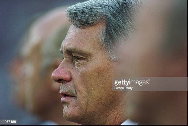 England manager Bobby Robson on the bench during the World Cup semifinal against Germany at the Stadio Delle Alpi in Turin Italy The match ended 11...