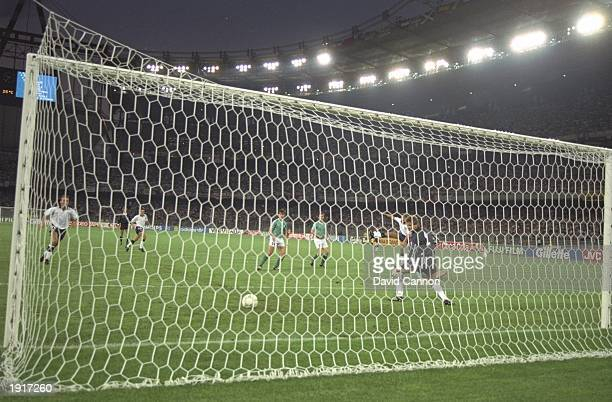 Gary Lineker of England scores the equaliser during the World Cup semi-final against West Germany at the Delle Alpi Stadium in Turin, Italy. West...