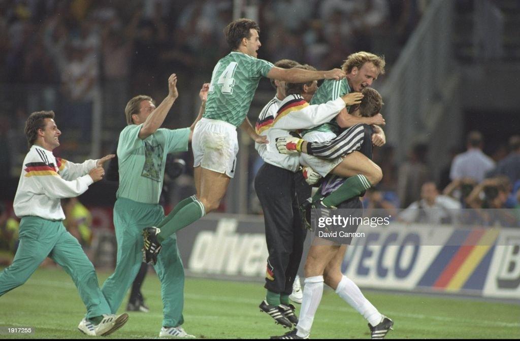 West German players celebrate : News Photo