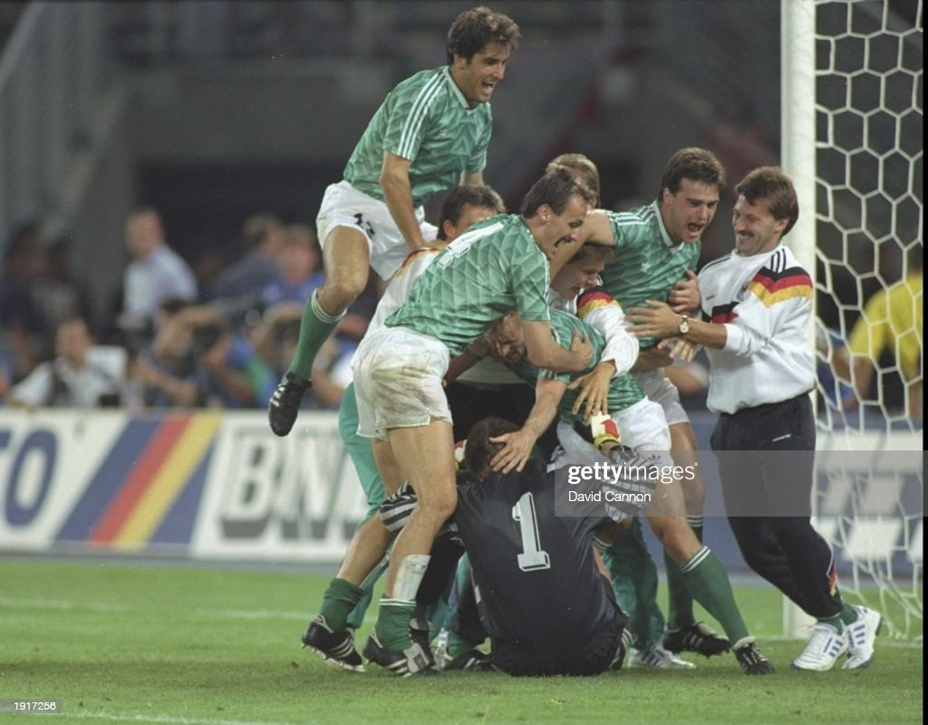 West German players celebrate after their victory in the World Cup semi-final against England at the Delle Alpi Stadium in Turin Italy. West Germany won the match 4-3 on penalties. \ Mandatory Credit: David Cannon/Allsport
