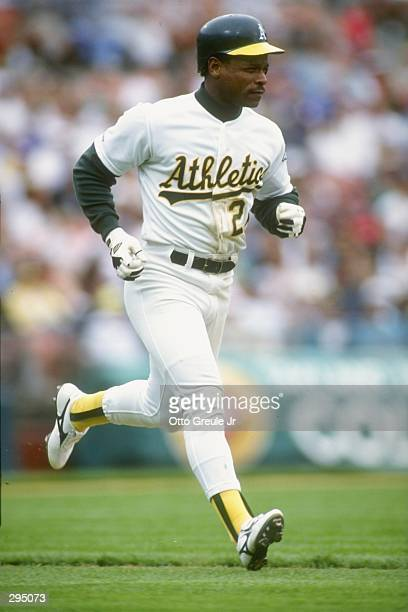 Rickey Henderson of the Oakland Athletic''s runs the bases during their game against the Baltimore Orioles at Oakland Coliseum in Oakland California...