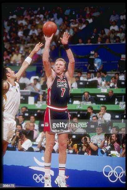 Forward Larry Bird of the United States shoots the ball during a game against Germany at the Olympic Games in Barcelona Spain Mandatory Credit Mike...