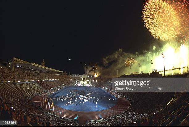General view of the Opening Ceremony and fireworks in the Olympic Stadium at the 1992 Olympic Games in Barcelona Spain Mandatory Credit Simon...