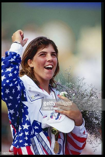 Jennifer Capriati of the USA celebrates her gold medal victory over Steffi Graf of Germany at the Summer Olympics in Barcelona Spain Mandatory Credit...