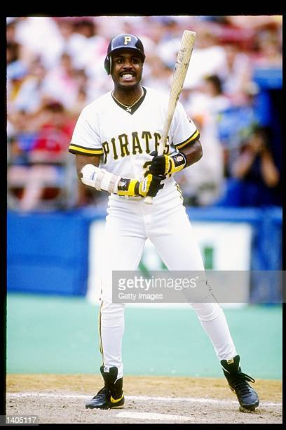 Left fielder Barry Bonds of the Pittsburgh Pirates watches his shot during a game against the Cincinnati Reds at Three Rivers Stadium in Pittsburgh,...