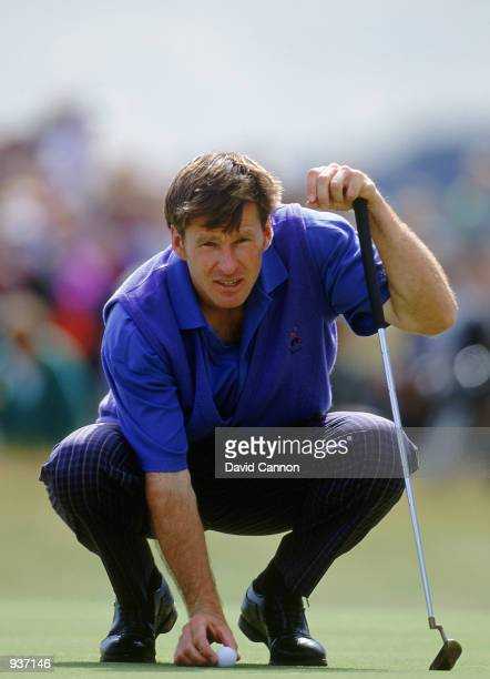 Nick Faldo of England lines up a putt during the final round of the British Open at Muirfield in Scotland Mandatory Credit David Cannon/Getty Images