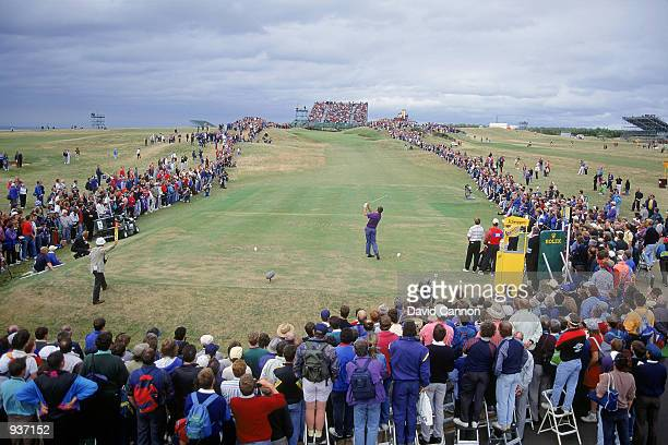 Nick Faldo of England tees off during the third round of the British Open at Muirfield in Scotland Mandatory Credit David Cannon/Getty Images