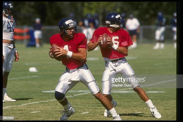 Quarterbacks Pat O''Hara and Stan Humphries fade back to pass during the San Diego Chargers training camp Mandatory Credit Stephen Dunn /Allsport