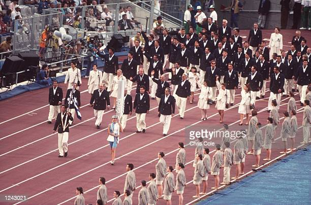 The National Olympic Team of Greece march into the stadium at the opening ceremony of the 1992 Summer Olympics in Barcelona Spain Mandatory Credit...