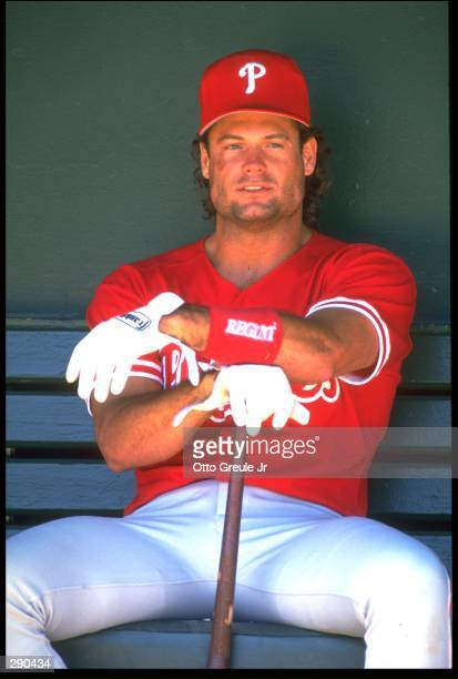 Catcher Darren Daulton of the Philadelphia Phillies watches from the dug out during the Phillies versus San Francisco Giants game at Candlestick Park...