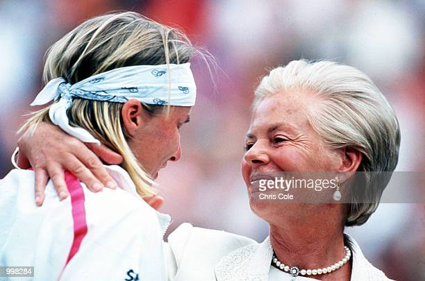 Jana Novotna is consoled by the Duchess of Kent after her defeat by Steffi Graf of Germany in the Women's Singles Final at the 1993 Wimbledon...