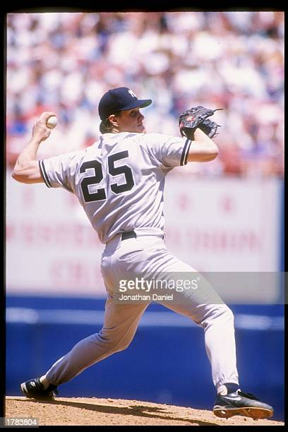 Pitcher Jim Abbott of the New York Yankees in action during a game against the California Angels at Anaheim Stadium in Anaheim California Mandatory...