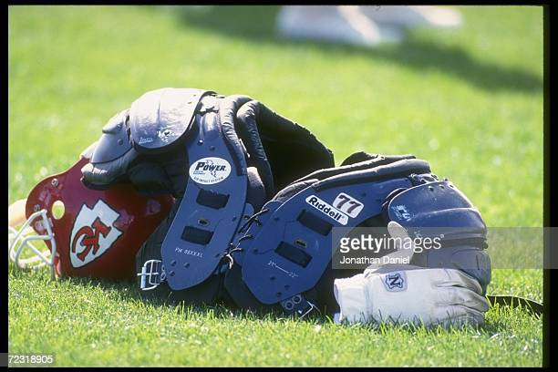 Shoulder pads and the helmet of a Kansas City Chiefs player a the Chiefs training camp at the University of Wisconsin in River Falls Wisconsin...