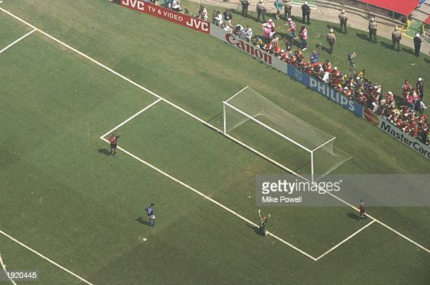 Brazilian goalkeeper Claudio Taffarel celebrates after Roberto Baggio of Italy misses the crucial penalty during the World Cup final at the Pasadena...