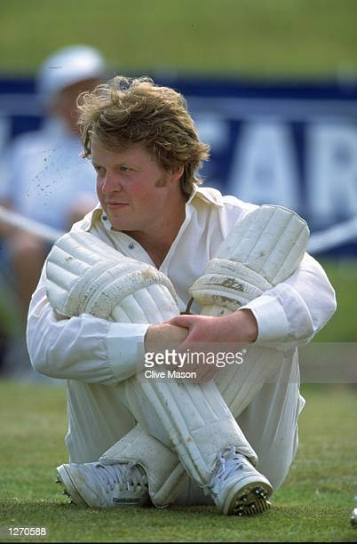 Earl Spencer sits in his cricket outfit during a Celebrity Pro Am SixaSide match at Althorp House in Northamptonshire England Mandatory Credit Clive...