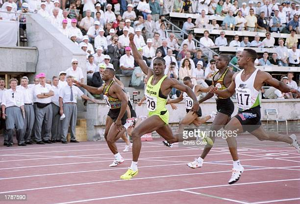 General view of the men''s 100 meters during the Goodwill Games in St Petersburg Russia