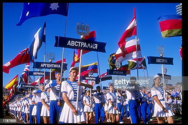 General view of the opening ceremonies for the Goodwill Games in St Petersburg Russia Mandatory Credit Clive Brunskill /Allsport