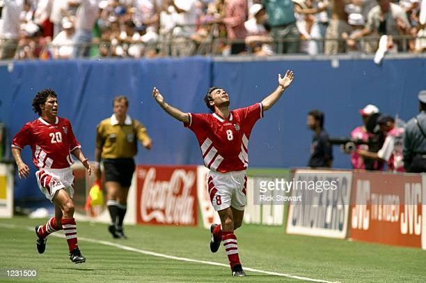 Hristo Stoichkov of Bulgaria celebrates their first goal during the World Cup quarterfinal against Germany at the Giants Stadium in New York USA...
