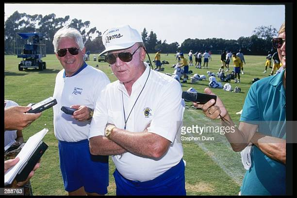 Los Angeles Rams head coach Chuck Knox looks on during training camp at UC Irvine in Irvine California Mandatory Credit Stephen Dunn /Allsport