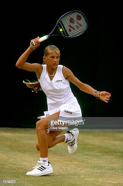 Anna Kournikova of Russia in action during a match at the Lawn Tennis Championships at Wimbledon in London Mandatory Credit Clive Mason/Allsport