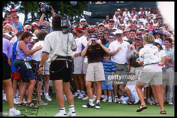 Annika Sorenstam celebrates after the U. S. Women''s Open in Colorado Springs, Colorado. Mandatory Credit: J.D. Cuban /Allsport