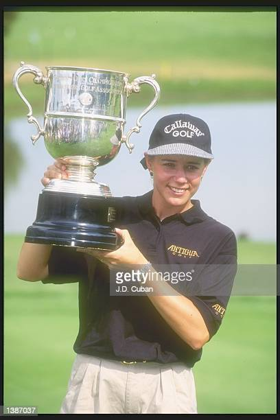 Annika Sorenstam holds proudly her trophy during the U.S. Women''s Open tournament at the Broadmoor Golf Club in Colorado Springs, Colorado.