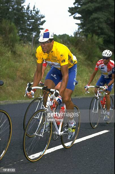 Banesto team member Miguel Indurain of Spain in action during Stage 13 of the Tour de France between St Etienne and Mende in France Indurain went on...