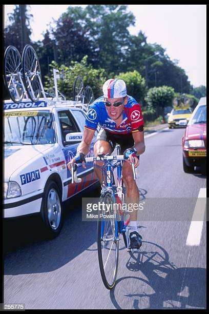 Lance Armstrong of the United States performs during Stage 18 of the Tour De France between Montpon Men. And Limoges in France.