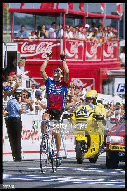 Lance Armstrong of the United States wins Stage 18 of the Tour De France between Montpon Men. And Limoges in France.