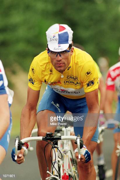Miguel Indurain of Spain in action during stage twelve of the Tour de France between St Etienne and Monde in France Mandatory Credit Mike Powell...